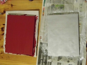 Paint your back ground colour onto your canvases. Leave to dry before continuing to the next step.