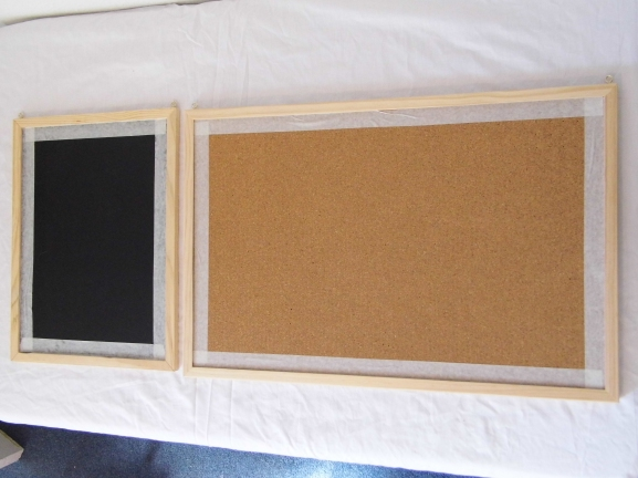 Take your memo board (also wanted to re-vamp my chalk board so it's included in this step) prepare it for painting by  placing masking tape on the edge of where you would like to paint. Then paint!